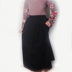 Cloak of Many Colors Jacquard Black Maxi Skirt